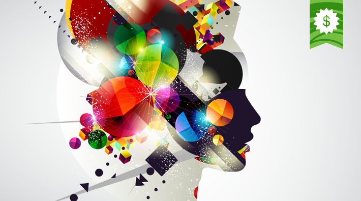 Illustration of an explosion of dynamic colourful shapes contained within a silhouette of a person's profile.