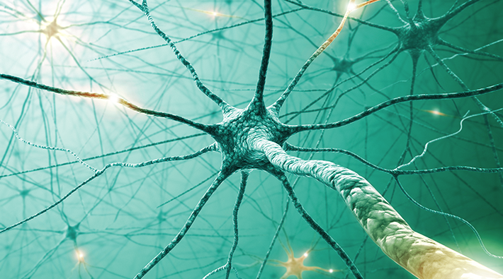 Représentation 3D d'impulsions électriques se déplaçant dans les neurones