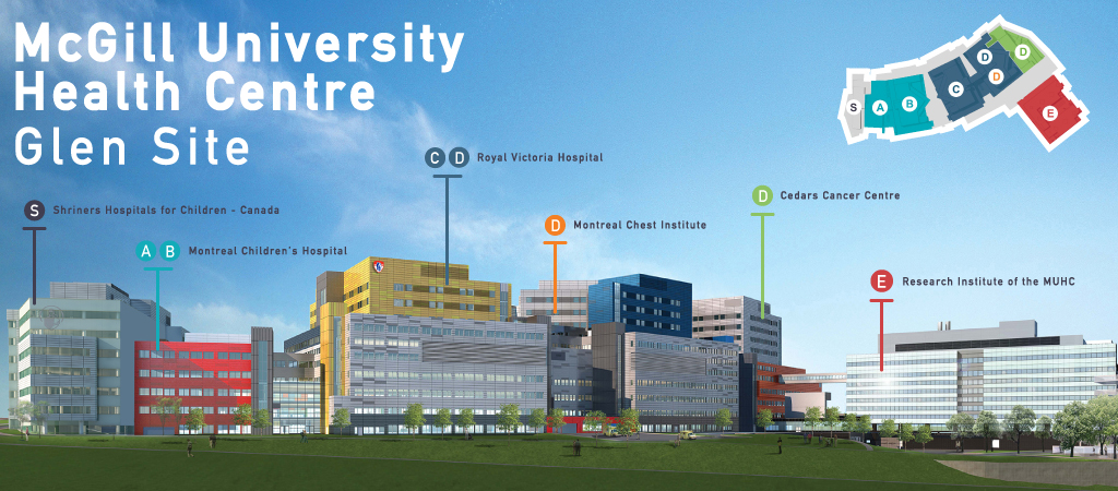 A map of the McGill University Health Centre Glen site.