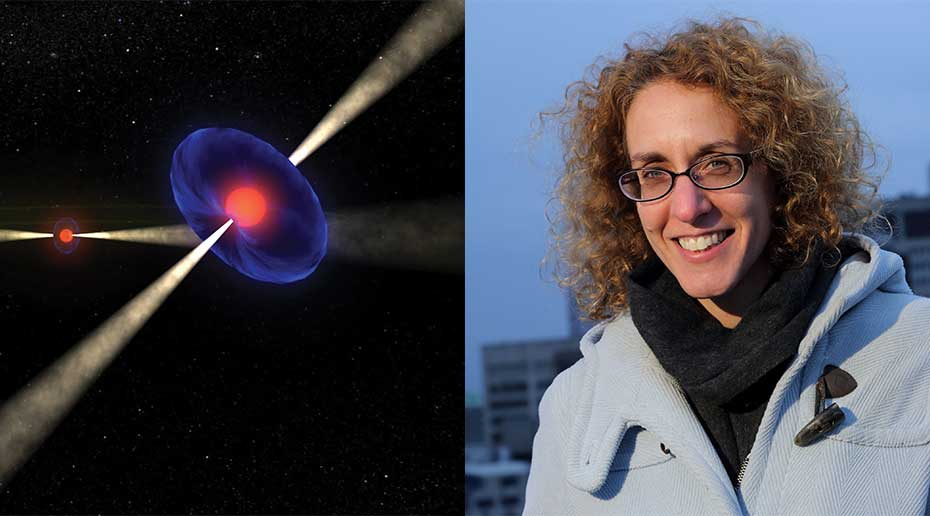 An artist's illustration of a neutron star shows a pink orb surrounded by purple light casting a beam of yellow light in both directions. Inset is a portrait of Vicki Kaspi.
