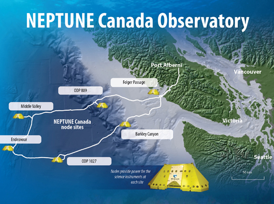 NEPTUNE Canada ocean observatory cable route