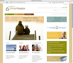 Screen capture of the Canadian Virtual Hospice